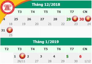 Lịch nghỉ Tết Dương lịch năm 2019